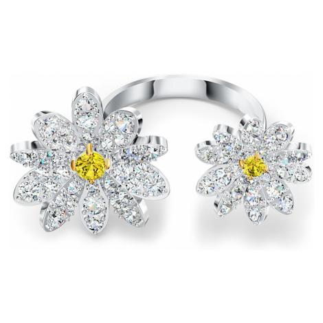Otwarty pierścionek Eternal Flower, żółty, różnobarwne metale Swarovski