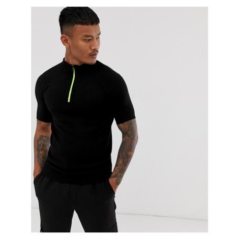 BoohooMAN neon half zip knitted t-shirt in black