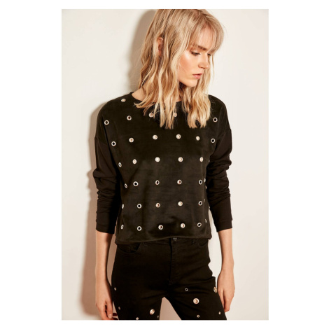 Trendyol Black Eyelet Lace Detailed Knit Sweatshirt