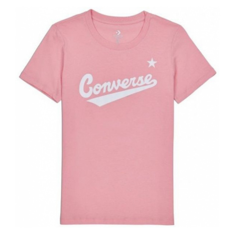 Converse CENTER FRONT LOGO TEE jasnoróżowy L - Koszulka damska