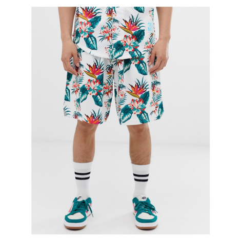 Mitchell & Ness NBA Toronto Raptors floral mesh shorts in white