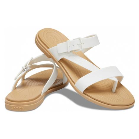 Białe Klapki Crocs Tulum Toe Post Sandal W Oyster