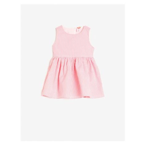 Koton Girl Pink Cotton Striped Crew Neck Sleeveless Dress