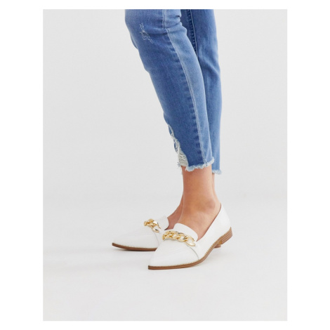 RAID Harlow off white patent chain trimmed flat loafers