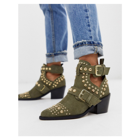 Kurt Geiger Sybil khaki suede mid heeled cut out studded ankle boots