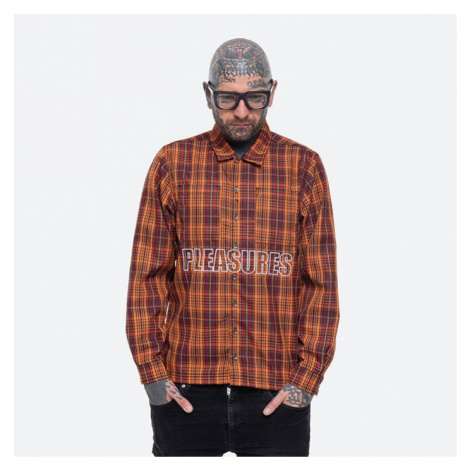 Koszula męska PLEASURES Shade Plaid Work Shirt P21SP003-ORANGE