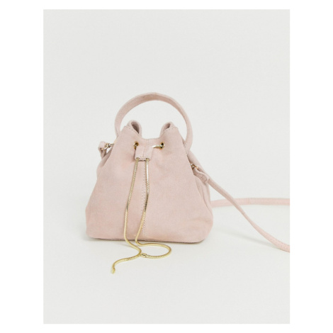 ASOS DESIGN suede bucket bag with snake chain detail