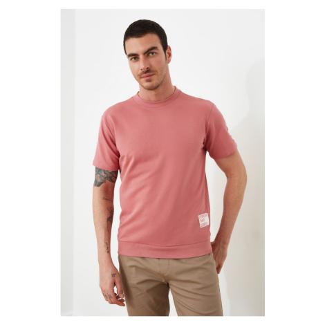 Trendyol Rose Dry Męskie krótkie rękawy Regular Fit Slogan Bluza z etykietą