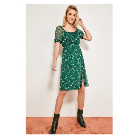 Trendyol Green Floral Square Collar Slit Dress