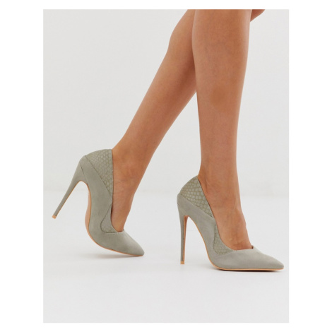 Lost Ink stiletto court shoes in grey mix