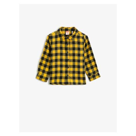 Koton Boy Yellow Check Classic Kołnierz Koszula z długim rękawem