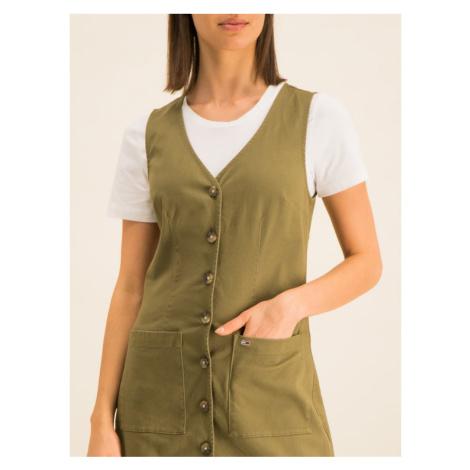Tommy Jeans Sukienka jeansowa Dungaree DW0DW07750 Zielony Regular Fit Tommy Hilfiger