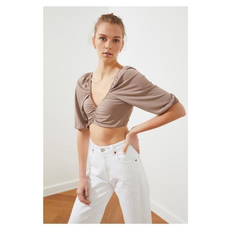 Trendyol Norki Binding Szczegółowe Crop Dzianinowa bluzka