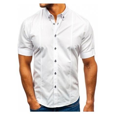 Koszula męska elegancka z krótkim rękawem biała Bolf 5535