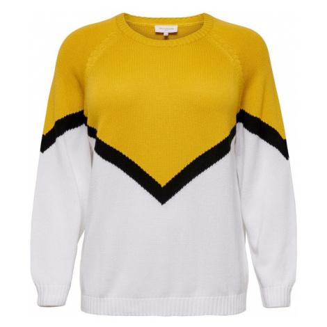 ONLY Carmakoma Sweter biały / żółty / czarny