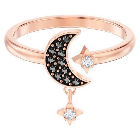 Pierścionek z motywem księżyca z linii Swarovski Symbolic, czarny, w odcieniu różowego złota