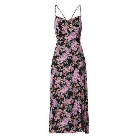 Fashion Union Suknia wieczorowa 'ALMOND' różowy / różowy pudrowy / czarny
