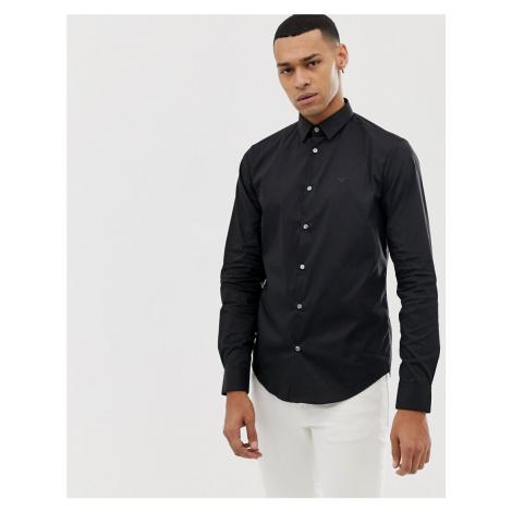 Emporio Armani slim fit logo poplin shirt in black