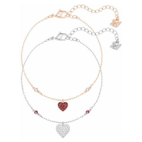 Crystal Wishes Heart Set, Red, Mixed metal finish Swarovski