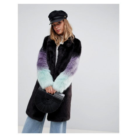 Urbancode longline coat with ombre faux fur sleeves