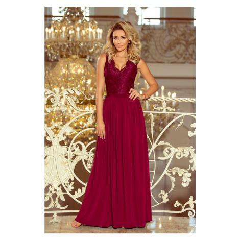 211-2 LEA długa suknia bez rękawków z koronkowym dekoltem - BORDOWA NUMOCO