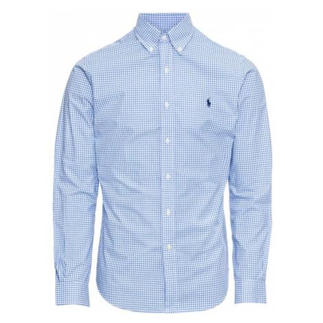 POLO RALPH LAUREN Koszula 'SL BD PPC SP-LONG SLEEVE-SPORT SHIRT' niebieski / biały