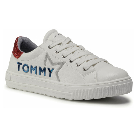 Sneakersy TOMMY HILFIGER - Low Cut Lace Up Sneaker T3A4-30804-1015 S White/Red X010