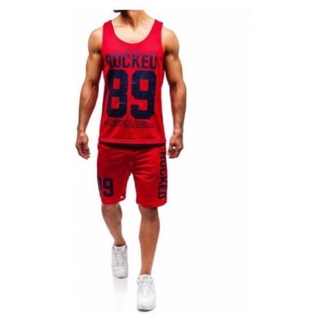 Komplet męski t-shirt + spodenki Denley czerwony 100780 J.STYLE