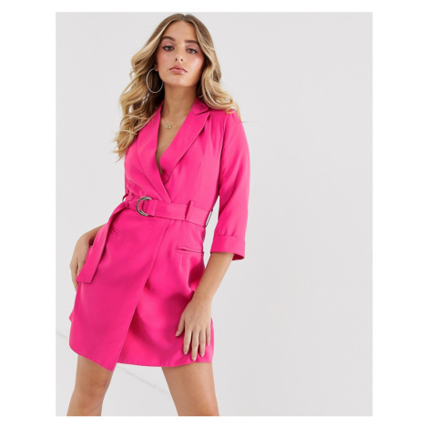 4th & Reckless cropped sleeve buckle mini dress in fuchsia