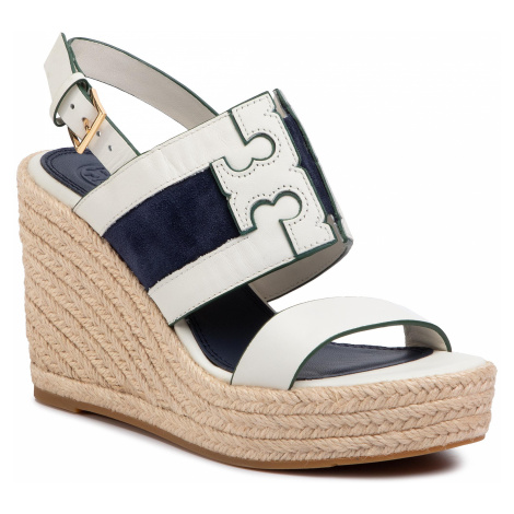 Espadryle TORY BURCH - Ines 105Mm Wedge Espadrille 61748 Perfect Ivory/Royal Navy 102