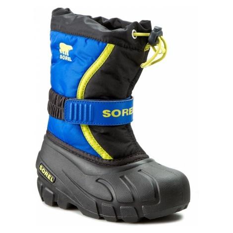Śniegowce SOREL - Childrens Flurry NC1885 Black/Super Blue 014