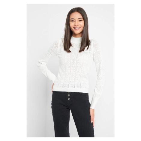 Ażurowy sweter z półgolfem Orsay