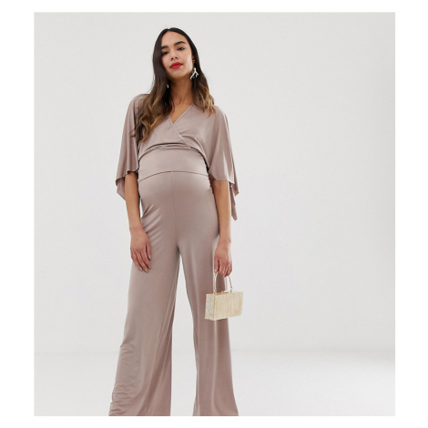 Blume Maternity wide leg jersey trouser in mauve co-ord