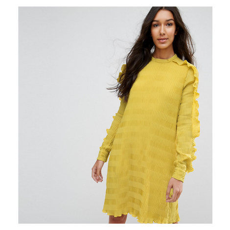 Y.A.S Tall ruffle textured shift mini dress in yellow