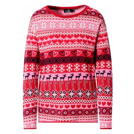 Zwillingsherz Sweter 'Christmas Time' różowy / grenadynowy / biały / czarny