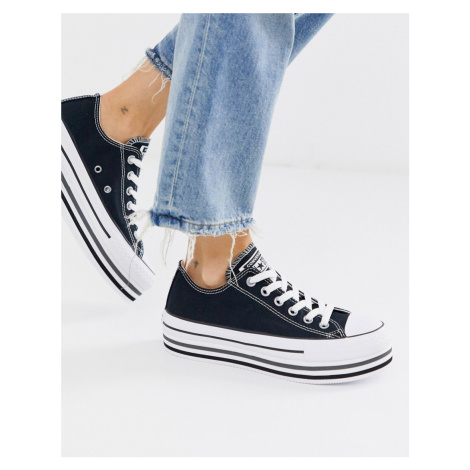 Converse black Chuck Taylor Ox All Star platform layer trainers