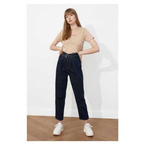 Trendyol Granatowy Pas z wysokim stanem Slouchy Jeans