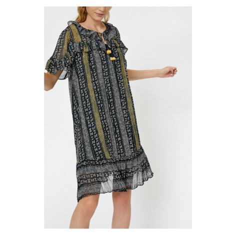 Koton Midi Sukienka z krótkim rękawem falbanką szczegółowo z kobiet czarny kołnierz szczegółowo