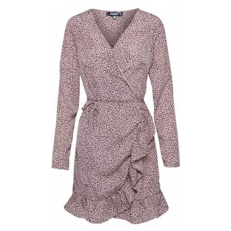 Missguided Sukienka 'TIE BELT RUFFLE HEM WRAP TEA DRESS LEO' różowy