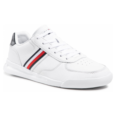 Sneakersy TOMMY HILFIGER - Lightweight Leather Sneaker Flag FM0FM03471 White YBR