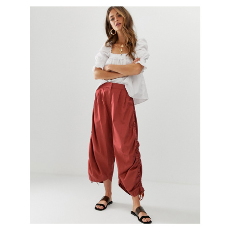 ASOS DESIGN premium utility culotte with ruched detail