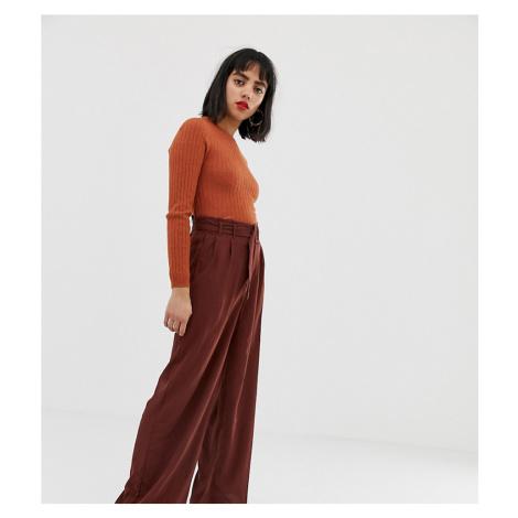 Vero Moda Petite Belted High Waist Wideleg Trouser
