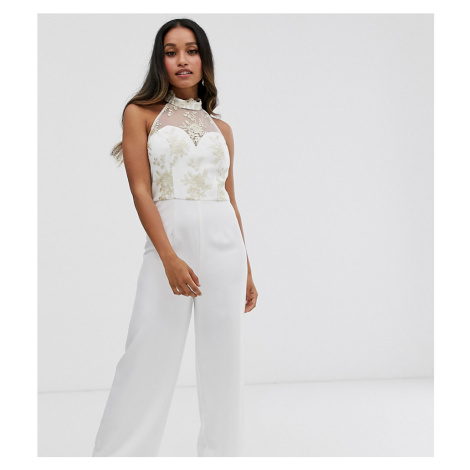 Chi Chi London Petite lace jumpsuit in white
