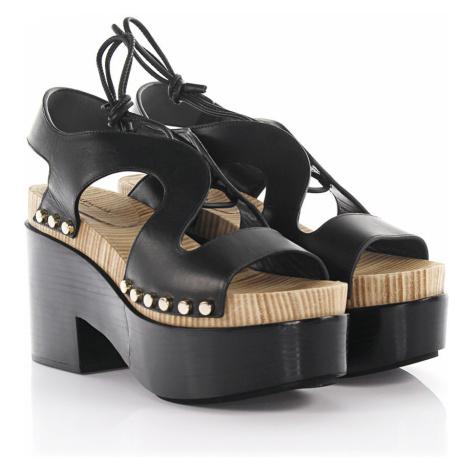 Balenciaga - Buty Sandały na platformie Clogs skórzane czarne z ćwiekami