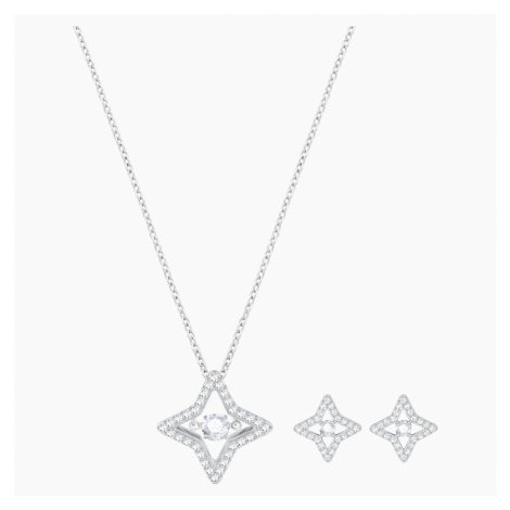 Set Sparkling Dance Star, bianco, Placcatura rodio Swarovski
