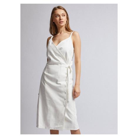 Dorothy Perkins Denim kremowa dżinsowa sukienka midi