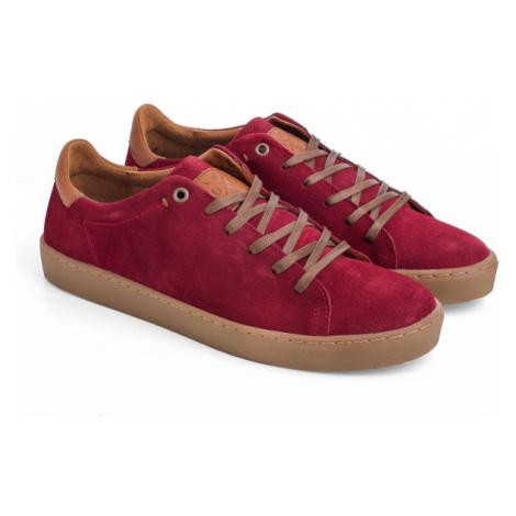Skórzane Sneakersy Męskie | Czerwone Callis Odes Woox