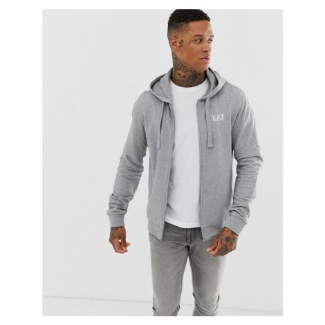 EA7 zip through hooded logo sweat in grey Armani