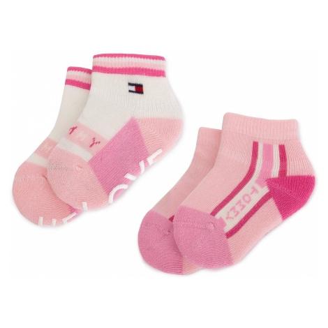 Zestaw 2 par wysokich skarpet dziecięcych TOMMY HILFIGER - 395001001 Pink Combo 174