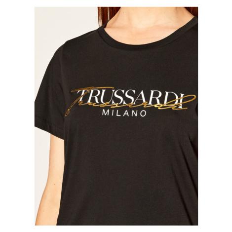 Trussardi Jeans T-Shirt Soft Pure 56T00281 Czarny Regular Fit